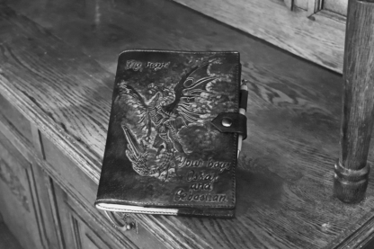 Leather notebook covers with dragon