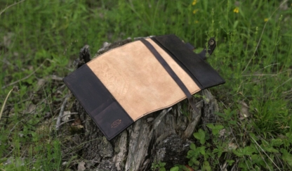 Dark brown notebook covers with hand carved wolf image for A5 notebook.