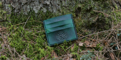 Green double sided card case with celtic knot