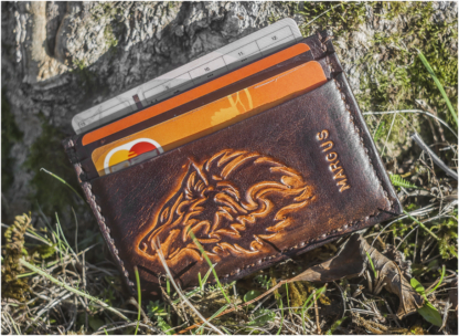 Double sided card case with wolf