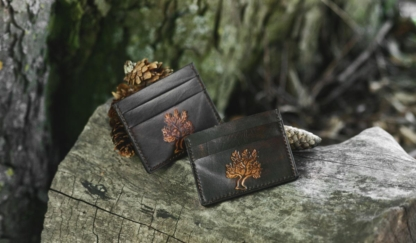 Dark brown double sided leather card cases