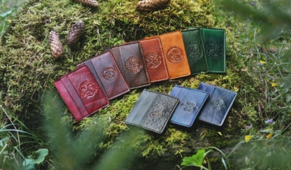 Double sided leather card cases