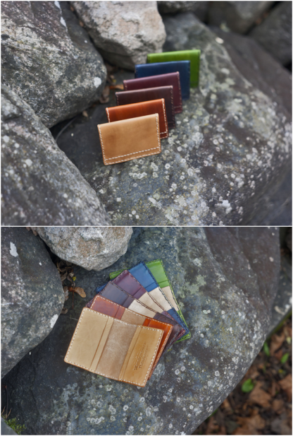 Leather card wallets in various colors