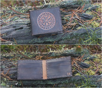 Folded card wallet with Vegvisir
