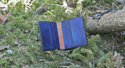 Blue card wallet with Metatron cube
