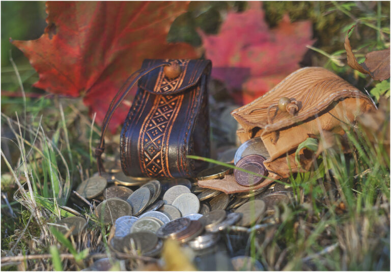 Coin pouches with wooden button
