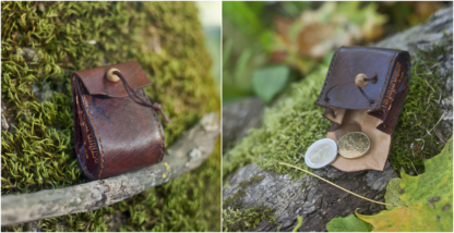 Coin pouch with wooden button