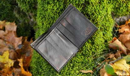 Leather wallet with dog image, inside