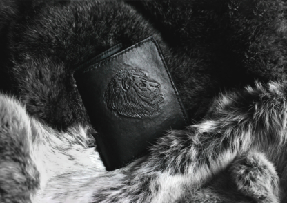 Leather wallet with lion image