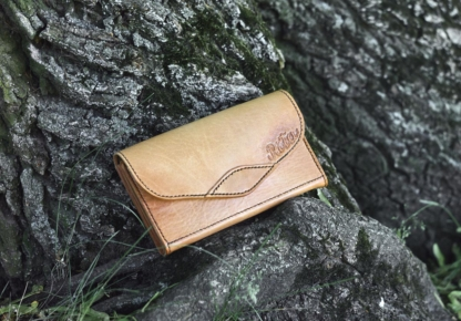 Large leather wallet for women, decorated by hand carved name.