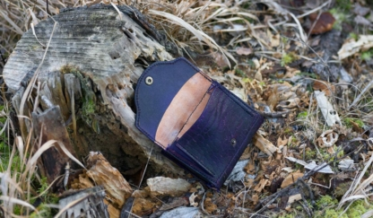 Violet leather wallet with eight pointed star