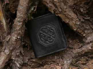 Small black leather wallet with celtic knot