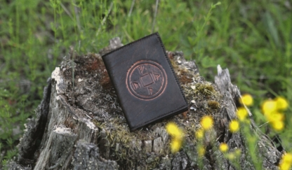 Leather wallet with carved runes