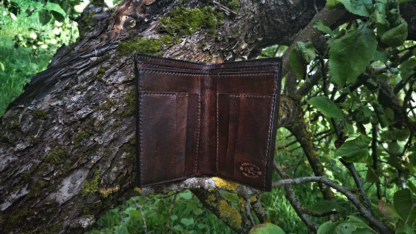 Leather wallet with eagle image, view to the inside of the wallet