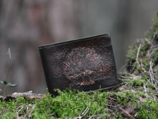 Wide leather wallet with carved oak tree