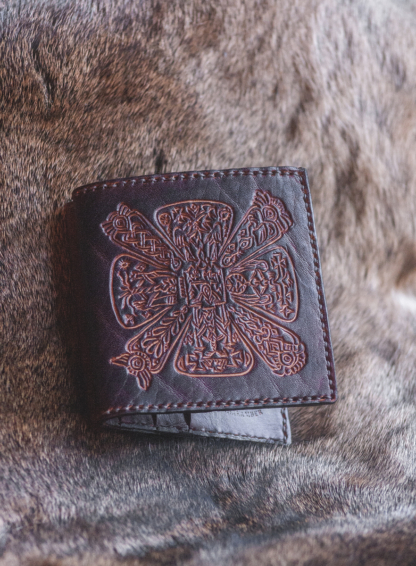 Leather bifold wallet with slavic cross
