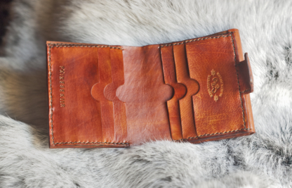 Full grain leather wallet with hand carved folk pattern - inside