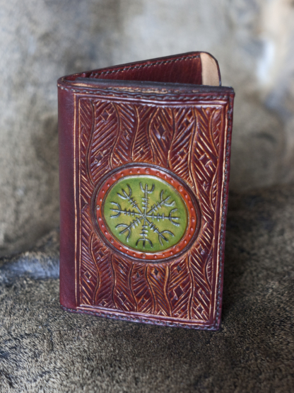 Men's leather wallet with The Helm of Awe sign