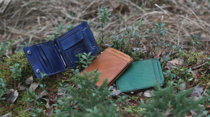 Blue vegetable tanned leather money clip wallet