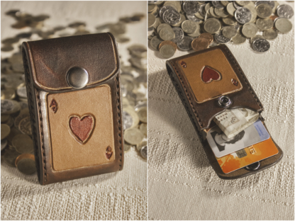 Leather wallet with ace of hearts