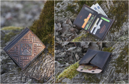 Leather wallet with carved image and bear track
