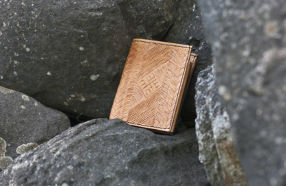 Natural leather wallet with carvings