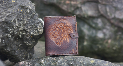 Leather wallet with lion head