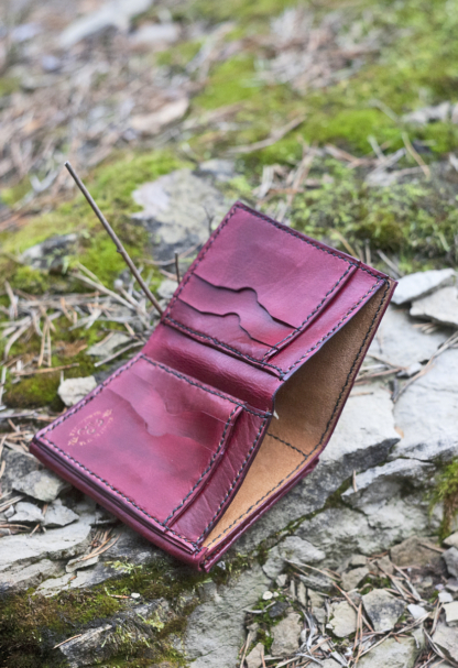 Red leather wallet inside