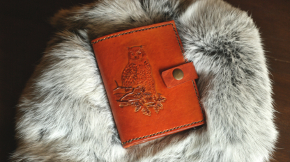 Leather wallet with owl image