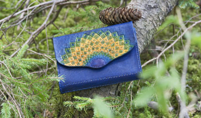 Classic women's wallet in blue with hand carved and painted pattern