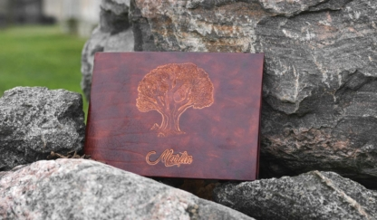 Leather photo album with an oak tree and name