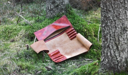 Leather chef knife roll
