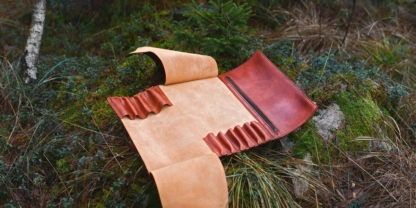Leather knife bag for ten knives