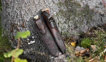 Leather sheaths for hunters knives