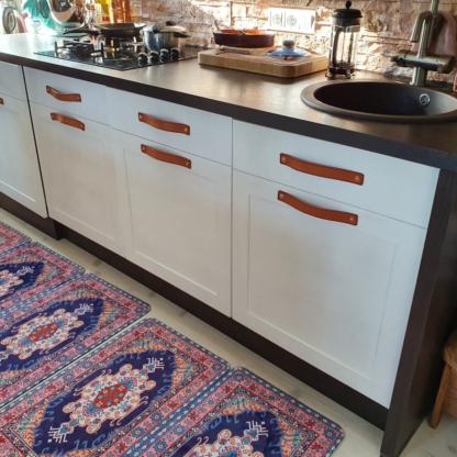 Leather handles set for kitchen furniture