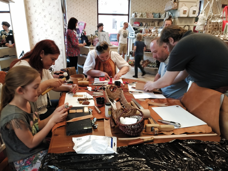 Workshop at the shoe and bag shop.